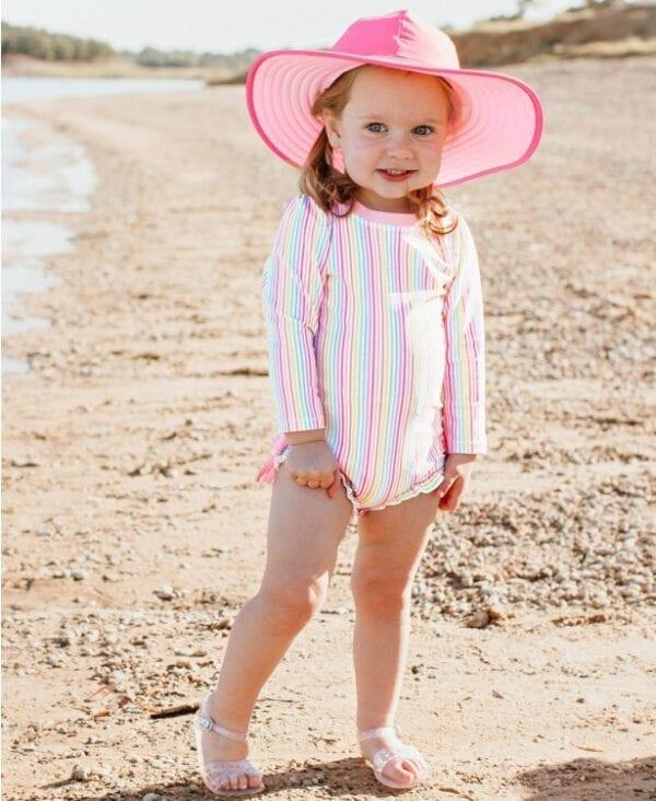 Baby and Toddler Girls Long Sleeve Rashguard Swimsuit