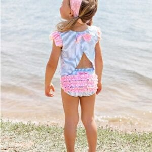 Pink polka-dot swimwear headband